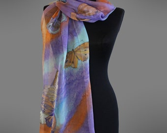 Hand painted silk scarf. Butterflies silk scarf. Bright scarf. Made to order.