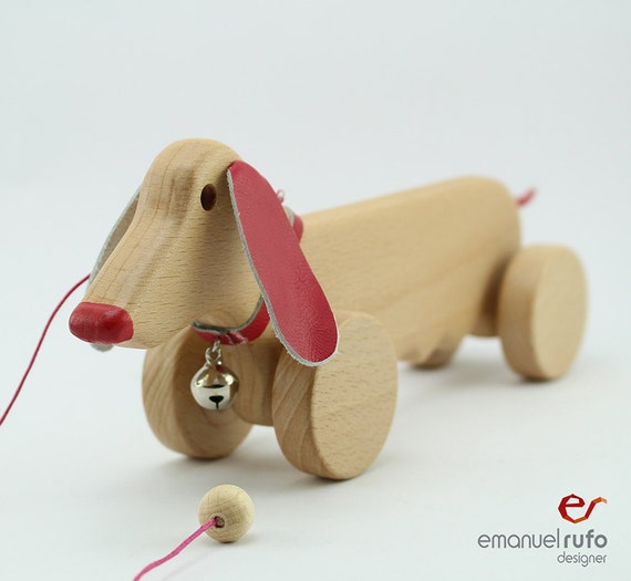 Toys Are Us Wooden Toys : Personalized dog wooden pull toy pink female eco