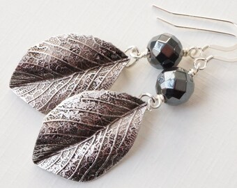 Haematite earrings, leaf earrings, dark grey earrings, silver leaf earrings, monochrome earrings, silver grey earrings, leaf charm earrings