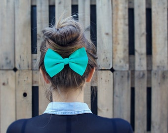 Turquoise Hair Bow Clip. Light Blue Hair Bow Barrette. Teal Blue Hair Bow Elastic. Aquamarine Hair Clip.