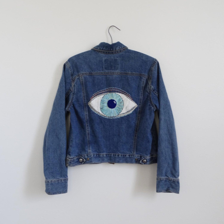 Embroidered eye denim jacket vintage blue by foundbymevintage