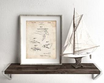 Swim Fins Patent Poster, Vintage Swimwear, Nautical Poster, SCUBA Diving, Underwater Art, PP1079