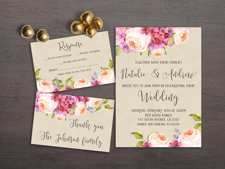 Summer Wedding Invitations: Floral Wedding Invitation Printable Summer Wedding By Lipamea