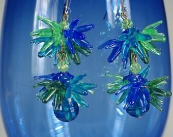 60's Blue and Green Acrylic Sputnik Earrings, Mod Retro Porcupine Earrings, Funky 60's Dangles, Vintage West German Atomic Earrings