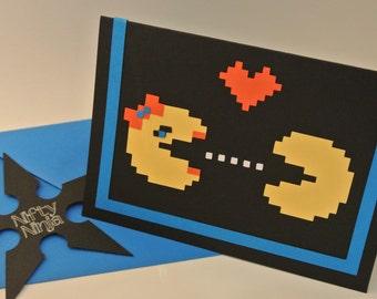 PacMan Blank Love Greeting Card