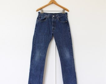Vintage High-Waisted Levis 501 Jeans Button Fly || Classic Dark Wash Cotton  || 30 x 31