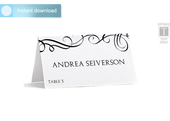 Place Card Template - Download Instantly - EDITABLE TEXT - Elegant ...