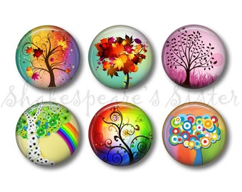 Tree Magnets - Fridge Magnets - Nature Art - 6 Magnets - 1.5 Inch Magnets - Kitchen Magnets