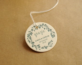 100 custom letterpress wedding tags
