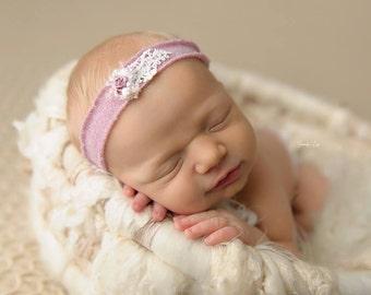 Lilac Newborn Headband, Newborn Headband Prop; Knit Headband; Handamde; Newborn Photo Prop; Newborn Props