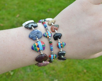 Zuni Fetish style Mixed Gemstone Bear Bracelet, beaded with 7-11 semi precious stones and Sterling Silver (Available in 2 sizes)