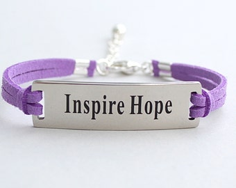 Inspire Hope , Stainless Steel Bracelet, Faux Suede Leather Cord, Inspirational, Adjustable Ext. Chain,  ST755