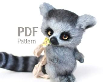 """Pattern teddy lemur PDF 6.1"""", artist teddy lemur pattern, ePattern, sewing pattern, lemur pattern, stuffed teddy pattern"""