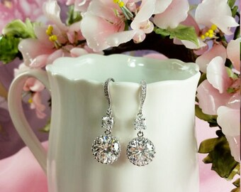 Round CZ Drop Earrings, Diamond Sparkle, Bridal Jewelry, Maid of Honor, Engagement Gift, Anniversary Present, Prom, Bridal Earrings, E2012