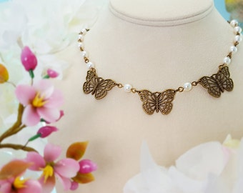 Butterfly Necklace, Butterfly Wedding, Fairytale Wedding, Pearl Necklace, Enchanting, Garden Wedding Jewelry, Bridesmaid Necklace, N4604