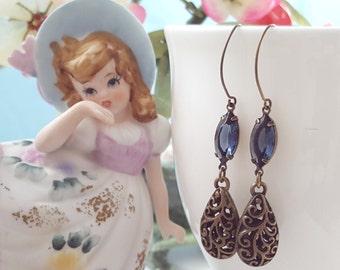 Long Dangle Crystal Earrings - Swarovski Montana Blue Earrings - Sapphire Drop Earrings - Blue Teardrop Earring - Marquise Earring E3904