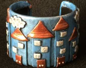 Cuff Bracelet Bangle Boho Polymer Clay Mid Century Modern Jewelry OUR HOUSE by Donna Pellegata ArtCirque