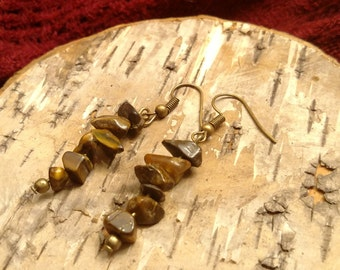 Tiger eye stone chip drop earrings