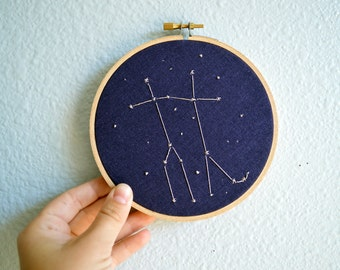 Gemini Constellation Embroidery Hoop Art - Zodiac Star Sign, Astrology Wall Hanging, Hand Embroidered Gemini Gift, Starry Sky