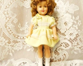 """SHIRLEY TEMPLE Doll-1950's Ideal Dolly-12"""" Tall-Flirty Eyes-Sleepy-Yellow Dress-Mary Jane Shoes-Vintage Character-Orphaned Treasure-081716"""
