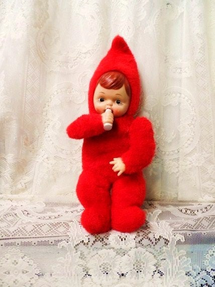 Jigsaw Puzzle Maker >> Vintage Plush Baby Doll with Bottle-Rubber Face-Stuffed Fur