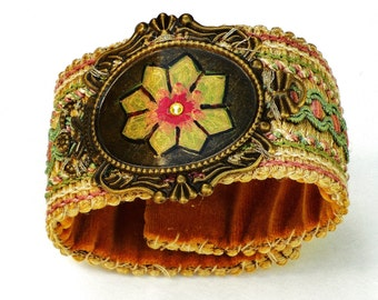 Soft Fabric Boho Cuff Bracelet Hand Painted Bohemian Hippie Jewelry FREE SHIPPING