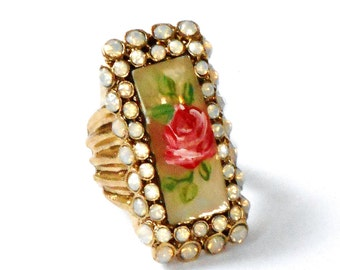 Large Rose Rectangle Ring Hand Painted Romantic Rhinestone Victorian Jewelry FREE SHIPPING