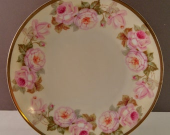 Vintage Turin Bavaria Decorative Plate. Pink Roses & Gold Trim. Shabby Chic, Bridal Shower, Wedding Dishes. Collectibles. Gift for Her.