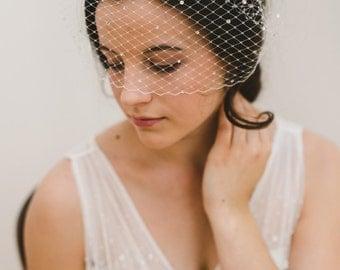 birdcage veil, crystal veil, blusher veil, french veil, ivory birdcage veil, short veil, vintage veil - RAQUELLE