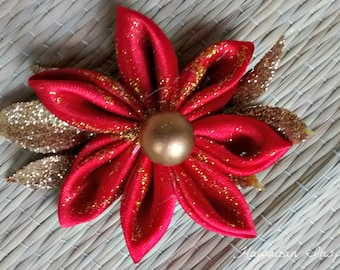 SALE! Kanzashi Red and Gold Flower Hair Clip