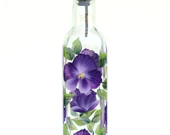 Purple Pansies Olive Oil Bottle