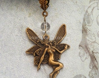 Bronze Fairy with clear quartz bead and Leaf Bail Necklace UK Seller
