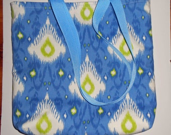 Blue Ikat tote bag, Large Blue Ikat tote bag with pockets, size is 16.5 in. X 16 in. X 3 in on bottom strap drops 15 in. Ikat totes