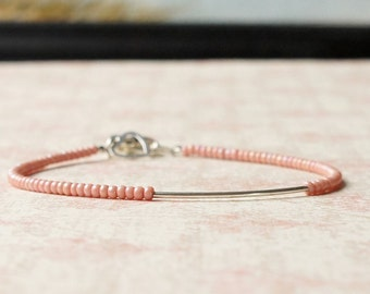 Silver And Pink Bracelet, Seed Bead Bracelet, Silver Tube Bracelet, Stacking Bracelet, Minimalist Bracelet, Dainty Bracelet, Beaded Bracelet