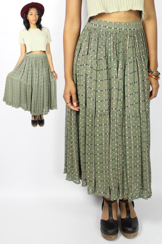 flowy chiffon skirt vintage midi skirt