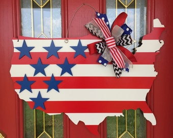 Stars and Stripes USA Star Fourth of July Patriotic Red White and Blue Door Hanger                                                    Door