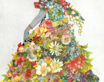Floral Party Dress Fashion Collage A6 Greetings Card