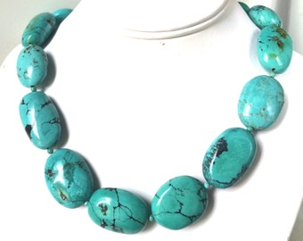 Turquoise Necklace, Natural Turquoise Necklace, Bold and Chunky Nugget Turquoise