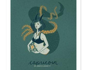 CAPRICORN SALE! Astrological Sign Drawing, Zodiac Print, Illustrated Poster, Winter Birthday, Wall Art, Capricorn Art, Woman Design