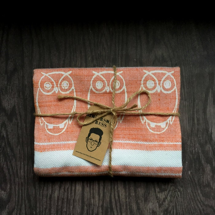 Dish Towel Sale: Sale Owl Kitchen Dish Towel Orange & White Stripes Tea