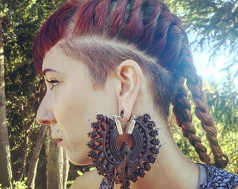 Wood Tribal Earrings~Mandala Earrings~Ear Weights~Tunnel Guage Earrings~Tribal Hoop Earrings~Tribal Earrings~Plugs for Gauges~Tribal Jewelry