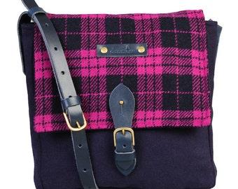 Orkney satchel - Navy and Wine Harris Tweed