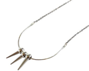 The Dark and Shine Spike Necklace; Silver Spike Necklace; Gunmetal necklace; Crescent Necklace; Black and Silver Necklace