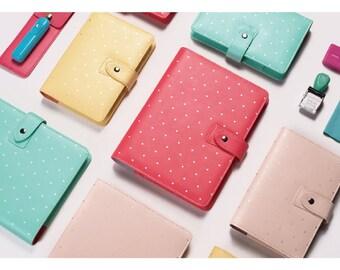 A5 Faux Leather Organizer Planner Notebook Binder Spade Dot Pattern w/ Popper NEW