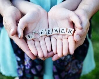 Save The Date, Forever, Engagement,  Photo Prop, Scrabble tiles, Wedding Decor, Love, Scrabble Photo Prop, Save the Date, Mr & mrs, wedding