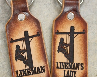 LINEMAN KEY CHAIN, lineman and/or lineman's lady keychains, Gift Boxed Free!