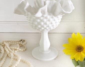 Vintage Milkglass Pedestal Compote|Vintage Fenton Raised Milkglass Compote|Decorative Centerpiece Dish|Milkglass Candy Dish
