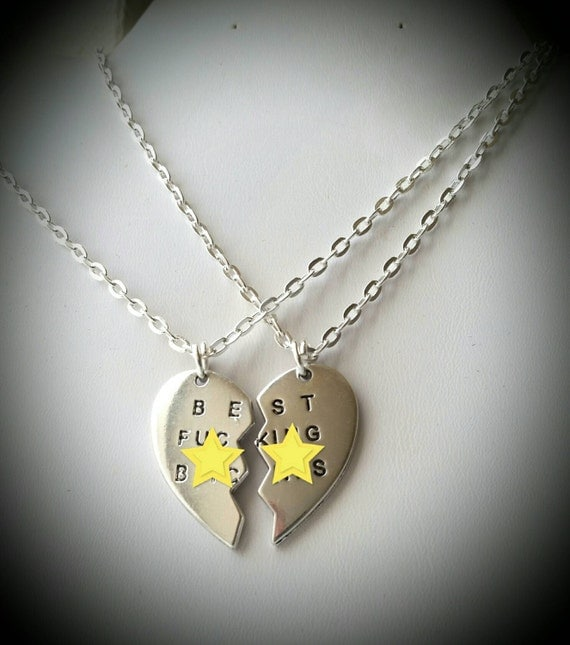 funny  friends necklace split heart girlfriends gift