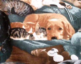 Snuggling Dogs and Cats Fleece Throw