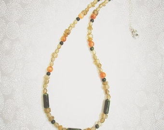 Citrine Bead Necklace, Earth Tones, Green and Yellow Beads, Multi Bead Necklace, Handmade Gift For Her, Boho Jewelry